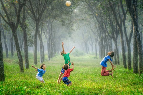 Children playing on the grassfield