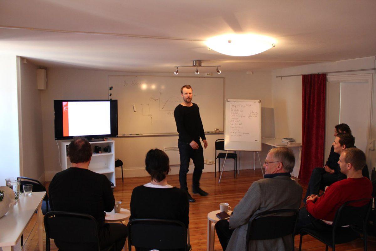 Person conducting a seminar